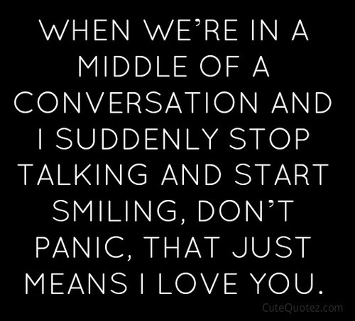 When we're in a middle of a conversation and I suddenly stop talking and start smiling, don't panic, that just means I love you <3