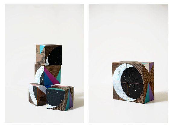 Space Oddity / Wooden blocks set / Decorative blocks by Lapalai
