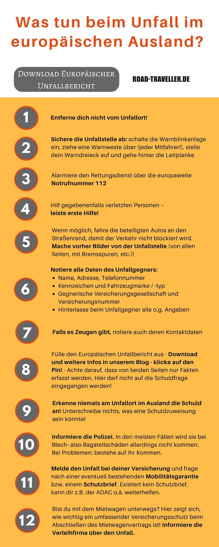 An einen Auto-Unfall auf Reisen möchte man nicht denken. Aber was tun, wenn´s passiert ist? Unsere Infografik fasst alle Punkte als Checkliste zusammen. Den Europäischen Unfallbericht kannst du auf unserem Blog downloaden! Einfach auf den Pin klicken! Gute Fahrt!