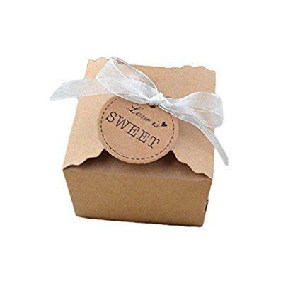gespout 100X stile retrò scatola regalo scatola confezione regalo carta Kraft Etichette di carta con ciondolo regalo Tags per matrimonio compleanno affari anniversario festa Deko, pizzo Band
