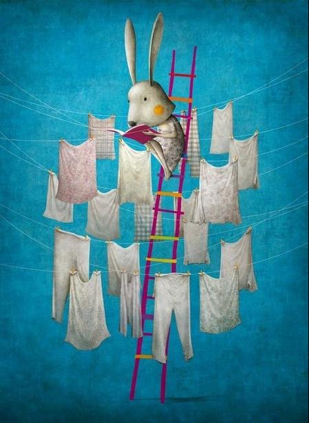 Lendo no tendal (ilustración de Gabriel Pacheco)