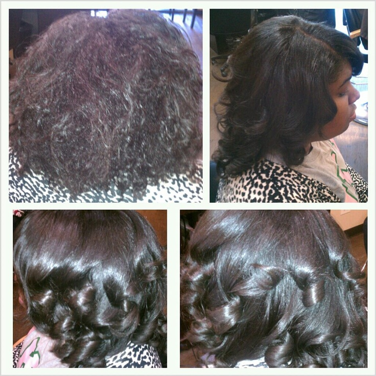 Natural Hair Before Amp After Silk Press Amp Curled No