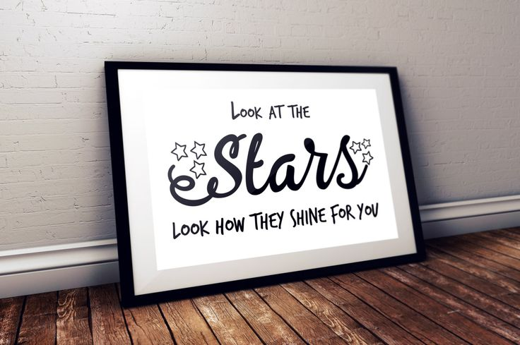 Look at the stars, look how they shine for you, Coldplay, Yellow, Typography, Wall Print, Lyric Art, Instant Download by BlackCatDesignAndArt on Etsy