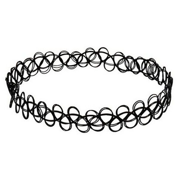 JQUEEN Black Gothic Stretch Elastic Double Line Henna Tattoo Choker... (£3.46) ❤ liked on Polyvore featuring jewelry, necklaces, black necklace, pendants & necklaces, black choker, choker necklace and tattoo choker necklace