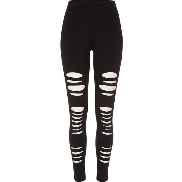 River Island Black ripped high waisted leggings ($44) ❤ liked on Polyvore featuring pants, leggings, black, women, high-waisted leggings, torn leggings, tall pants, high-rise leggings and high-waisted pants