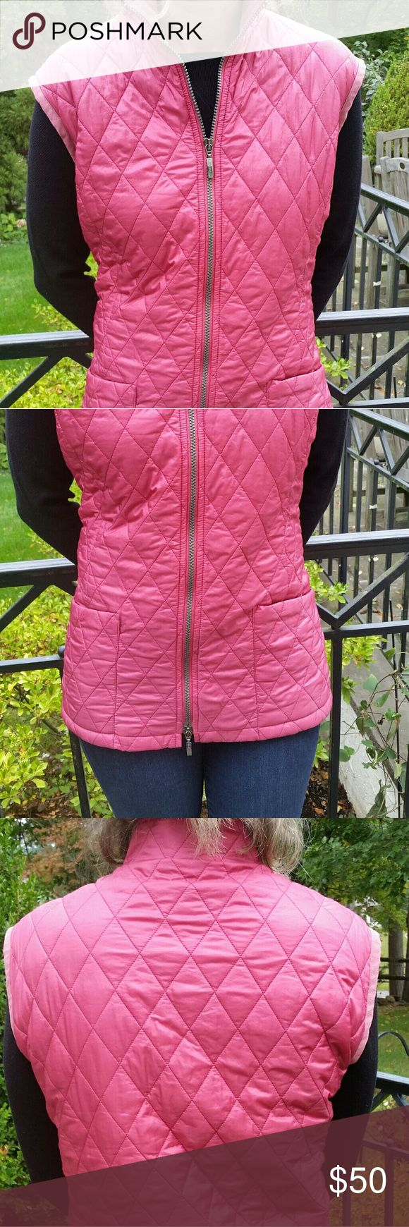 PLUS SIZE Barbour Quilted Vest Beautiful rose color. Size 14/16. Some wear on leather border on armholes and slight fading on collar. Barbour Jackets & Coats Vests