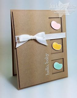 Jelly Bean Baby Card by Julie DiMatteo: Crafts Ideas, Cards Ideas, Baby Cards, Baby Ideas, Beans Baby, Jelly Beans, Kraft Cardstock, Baby Shower