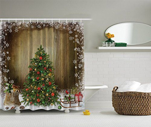 Christmas Tree with Presents Vintage Style Brown Fabric Holiday Shower Curtain