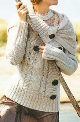 Sweter de mujer tejido a palillo Sweter con botones bien visibles de de madera OjoconelArte.cl  