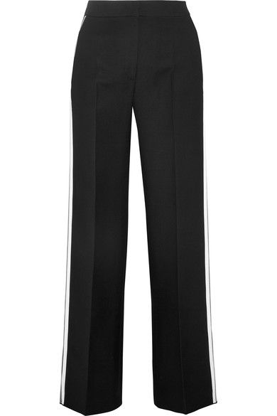 Fendi - Striped Wool And Silk-blend Wide-leg Pants - Black - IT