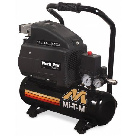 Mi-T-M AM1-HE15-03M Work Pro Series 3-Gallon Single Stage Electric Air Compressor, Hand Carry, 1.5 HP, 120V, 15.0 A