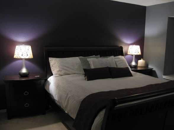 This Deep Purple Accent Wall+grey Walls Is Close To What I Have In Mind