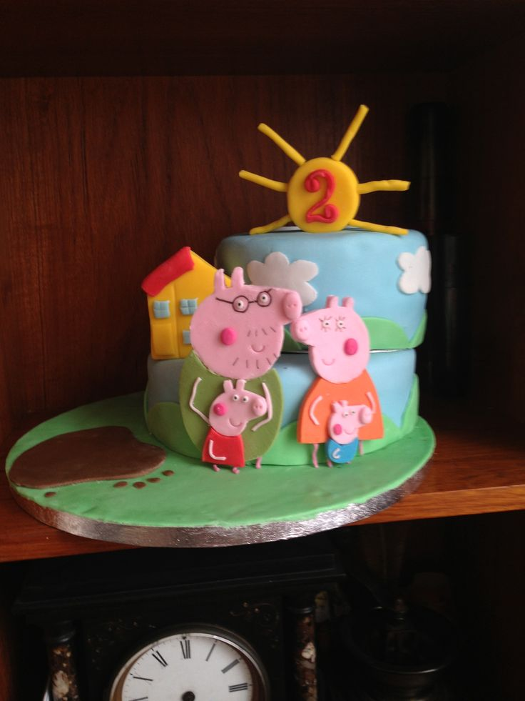 Daughters second birthday cake - peppa pig cake - top tier chocolate - bottom tier Victoria sponge
