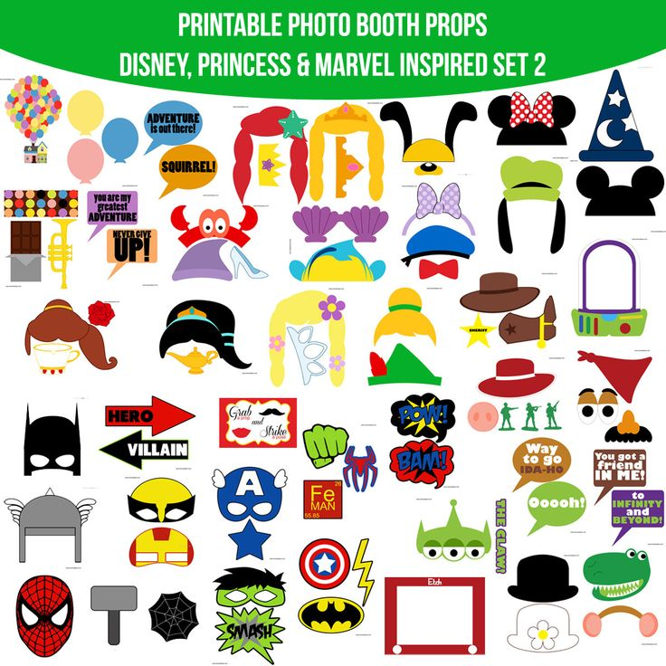 Instant Download HUGE COMBINED SET 42 pages of props! Disney Princess Marvel Inspired Printable Photo Booth Props Photobooth Props         May 15, 2015 at 06:38AM