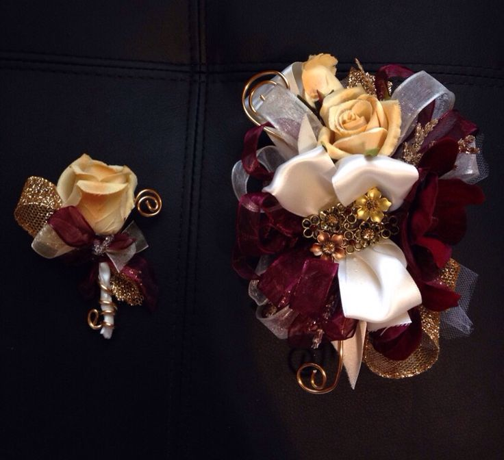 Burgundy orchid and gold rose prom corsage and Boutonniere set from Hen House Designs. https://www.etsy.com/shop/LisasHenHouseDesigns