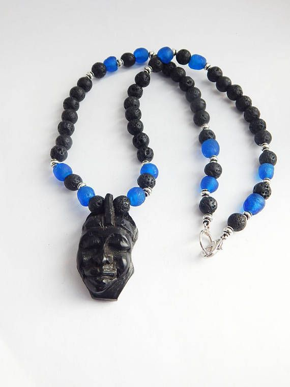 African mask necklace blue black wood africa jewelry beaded tribal african mask necklace blue black wood africa jewelry beaded tribal ethnic afrocentric wooden pendant gift ideas aloadofball Choice Image
