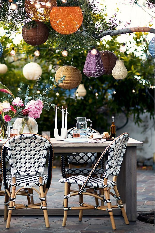 Woven Bistro Dining Chair Outdoor Dining Chairs Bohemian Patio