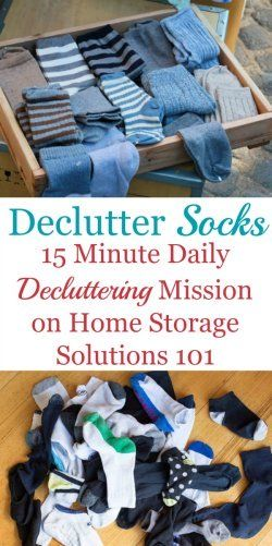 How to declutter socks from your sock drawer or wherever you keep your socks {one of the #Declutter365 missions on Home Storage Solutions 101}