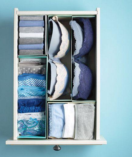 Des boîtes à chaussures pour ranger la lingerie et les sous-vêtements dans les tiroirs  http://www.homelisty.com/organisation-rangement-tiroirs/