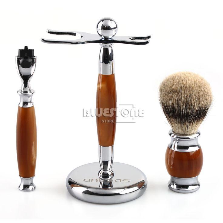 High Quanlity Mens Shaving Brush Razor Stand + Pure Silvertip Best Badger Hair Brush Set Gift Free Shipping