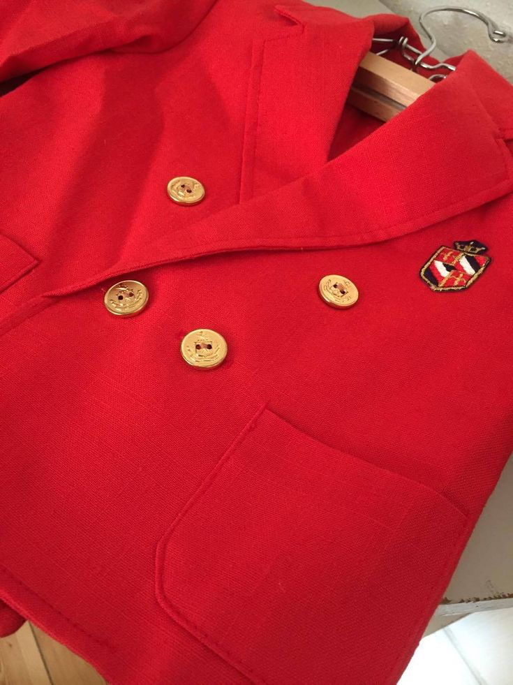 Children's Vintage Red Linen Nautical Double-Breasted Dinner Jacket by WifinpoofVintage on Etsy