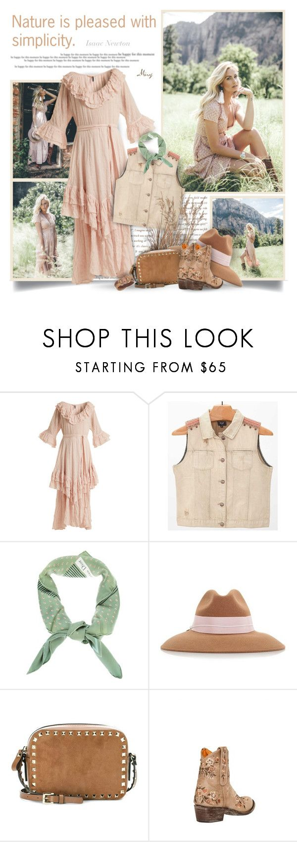 """""""Nature Is Pleased With Simplicity"""" by thewondersoffashion ❤ liked on Polyvore featuring Lisa Marie Fernandez, Christian Dior, Federica Moretti, Valentino, Mexicana and Lonna & Lilly"""