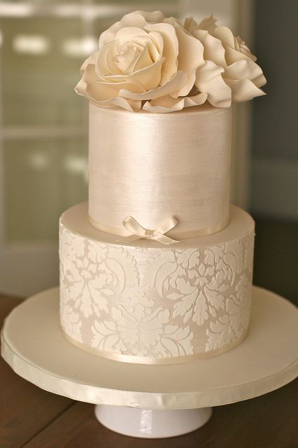 Shimmer and Damask Wedding Cake - perfect colour