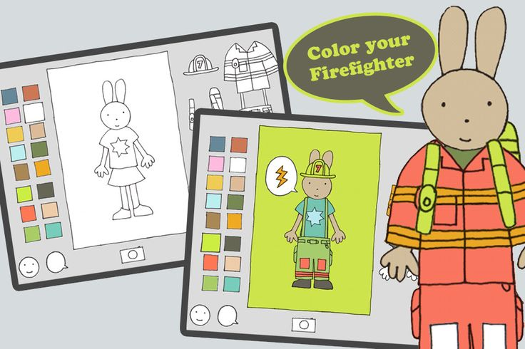 Firefighter Dress-up  Dress and color Clover the bunny and her friends, so they are ready to fight fires. Snap their uniforms into place. Choose colors for their clothing, uniform, and background. Select and color a picture bubble. Take a photo of your creation to save. Designed for children ages 3 to 8.