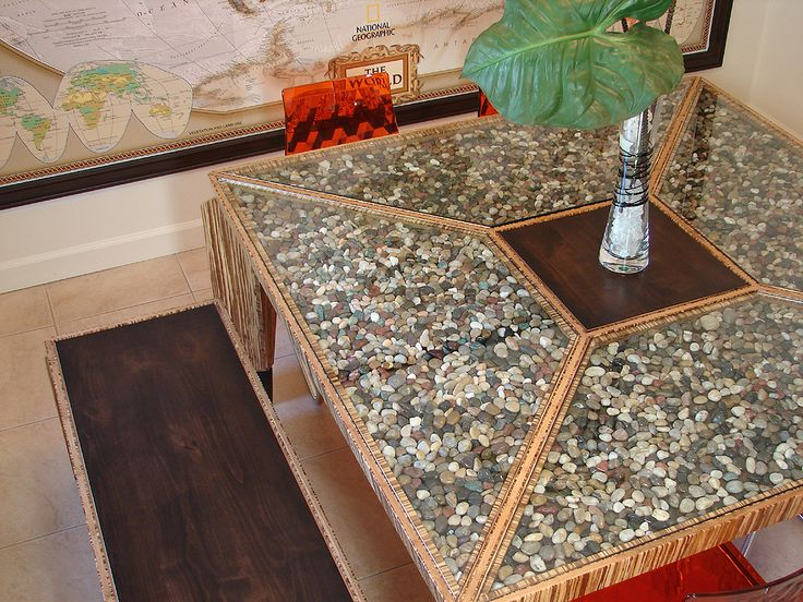 RIVER ROCK: Eco Friendly Dining Table | Parsons Dining Table With Glass Top  And