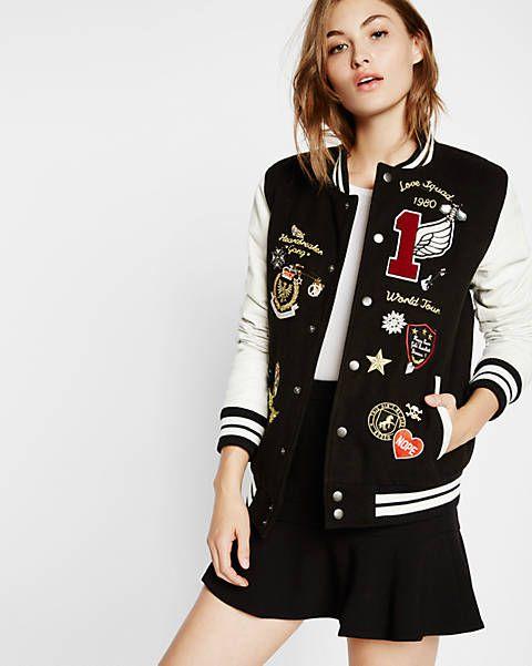 leather and flannel embellished varsity jacket