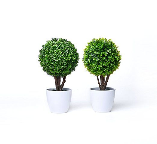 Set of 2 Artificial Faux Potted Home Desk Tabletop Decor Boxwood Topiary Plant w/ White Planter Pots