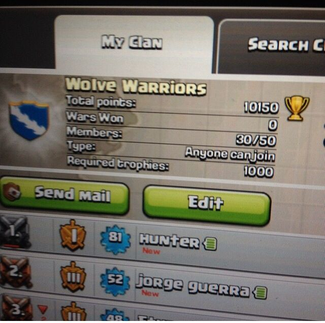 Come join wolve warriors on clash of clans were a active and loyal clan some come on and join our wonderful clan