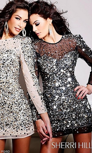 Short Sequin Dress with Sleeves $450