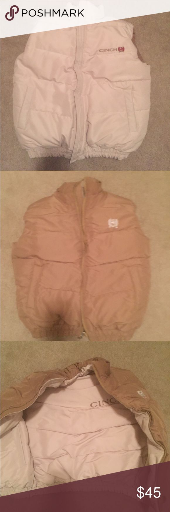 "Cinch Men's Down Cream Vest Small NWOT Cinch Men's Down Cream Vest Small NWOT, its reversible to tan! It measures 52"" pit to pit and 26"" for the length! This just never fit my hubby and it's been in the closet ever since! Cinch Jackets & Coats Vests"