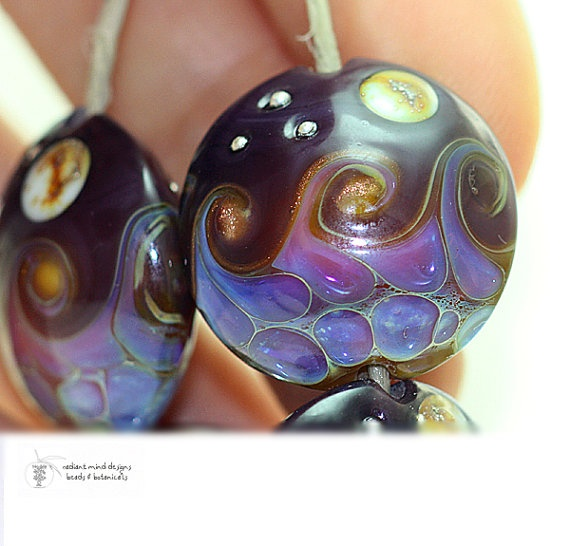 glass lampwork beads by radiant mind on etsy love the waves like the sea