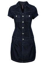 Sukienka dżinsowa z plisą guzikową i kieszeniami na wys. biustu • 99.99 zł •…