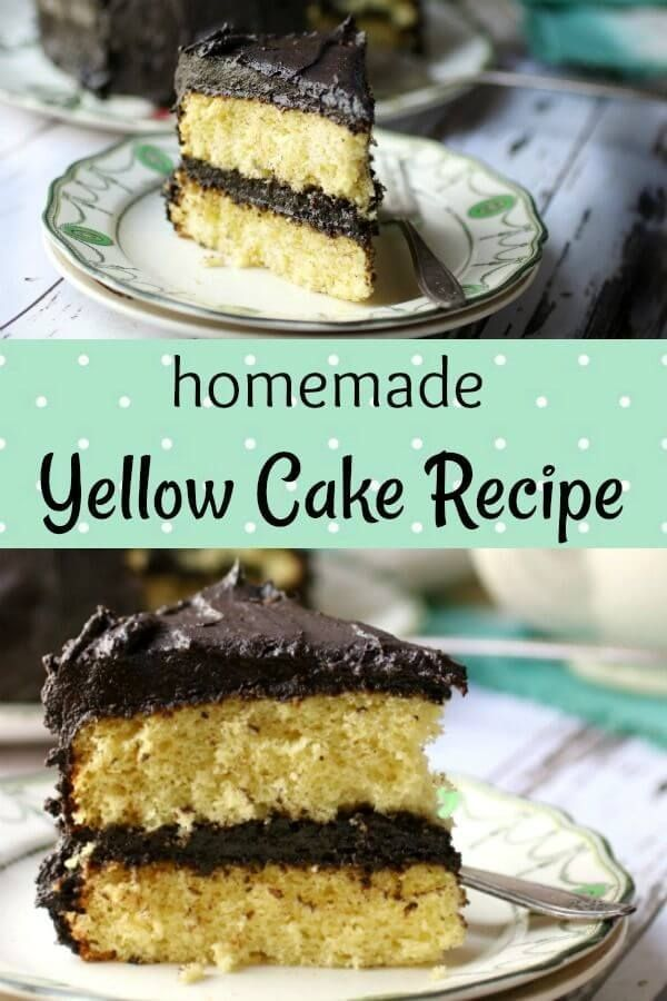 Classic Yellow Cake Recipe With Bittersweet Chocolate Frosting Recipe Yellow Cake Recipe Almond Cakes Cake Recipes