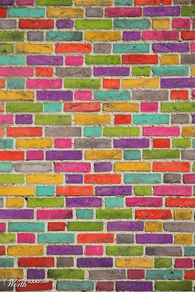 Brick wall colorful living pinterest for Colourful wallpaper for walls