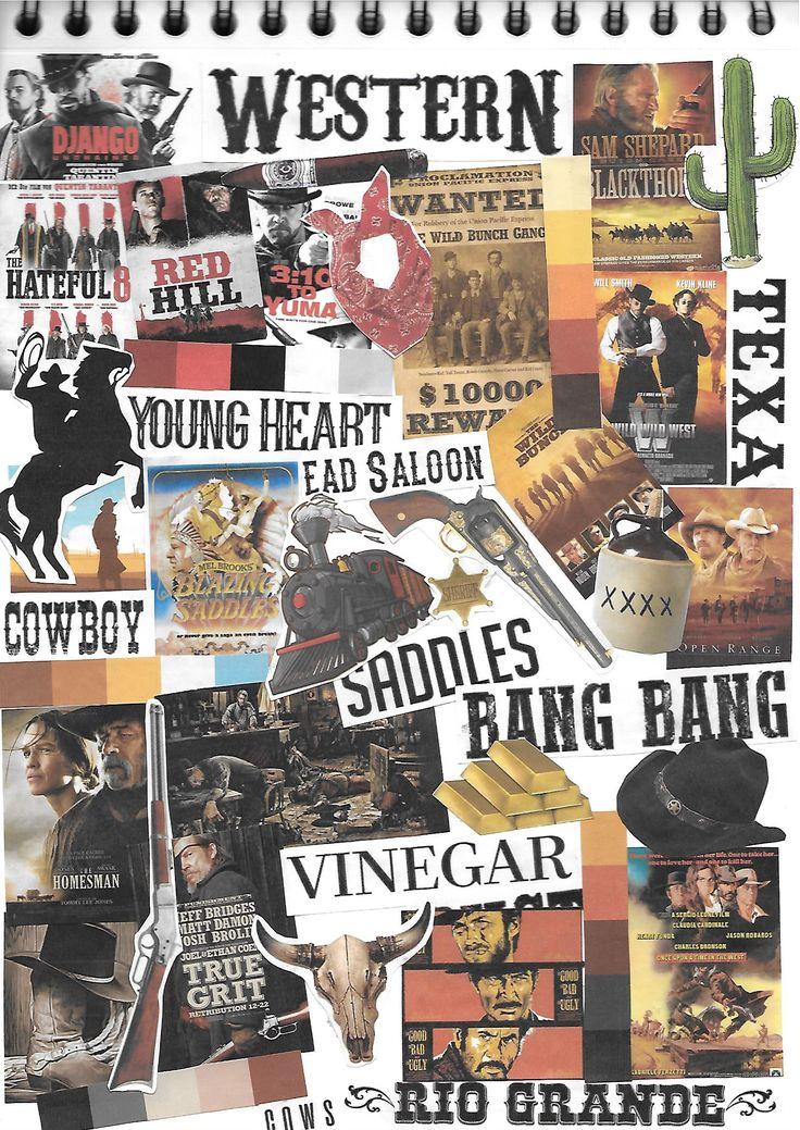 Vooronderzoek filmgenre 'Western' :  Moodboard van Filmposters en bijhorende kleurenpaletten, toepasselijke lettertypen en geassocieerd beeldmateriaal.