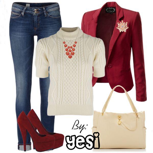 Atuendo para invierno en colores ideales de temporada como el rojo, con jeans y blusa cuello de tortuga. 153