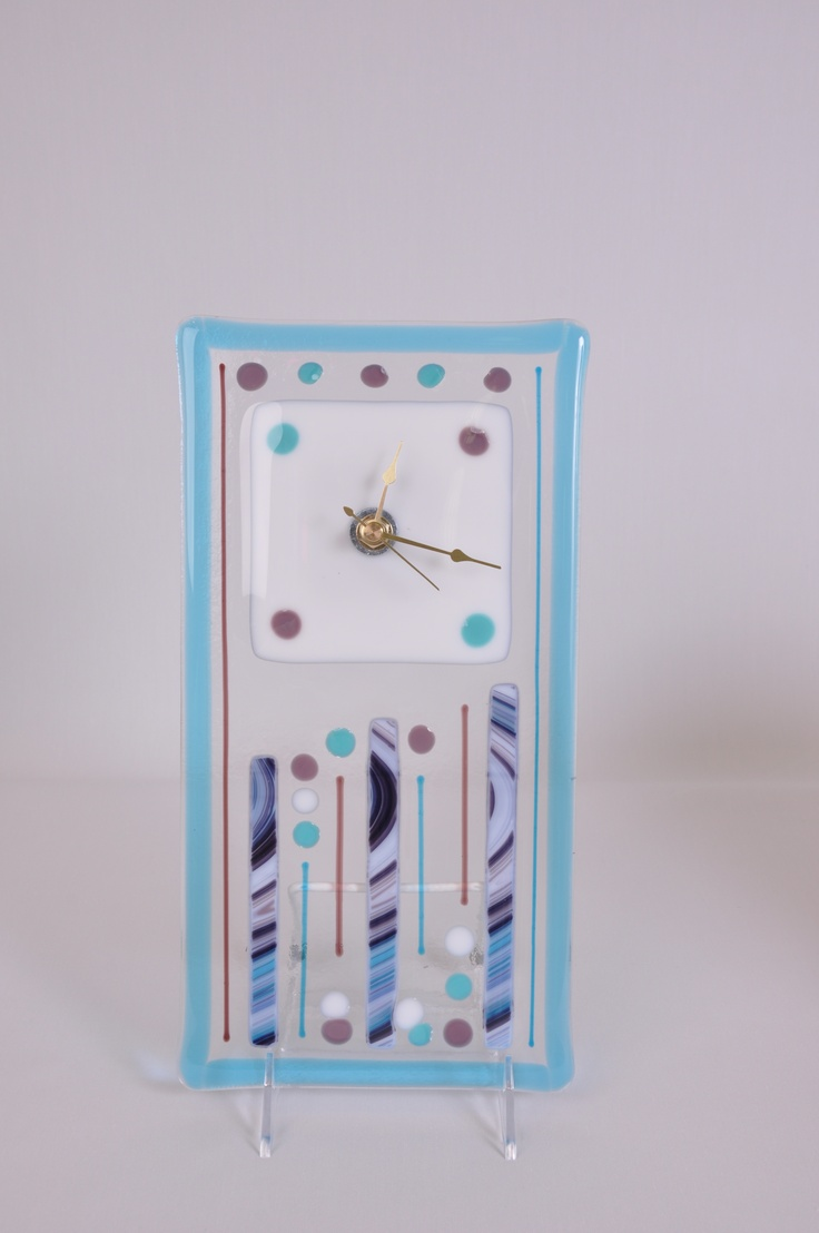 Row of beach huts curved fused glass table clock - Fused Glass Clock Hand Blown Glass Art Made At Live Laugh Love Glass In Portland