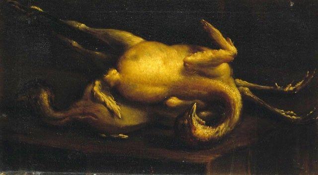 """Felice Boselli / """"Natura morta - polli spennati"""" / Olio su tela, cm. 34 x 60 / Piano 1 - Galleria Fontanesi"""