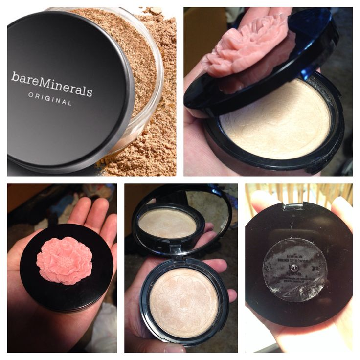 I bought some empty compacts and flower cabochons to make my own personalized pressed bare minerals powder foundation compact...w15 shade powder, purell, tea tree and lavender oil