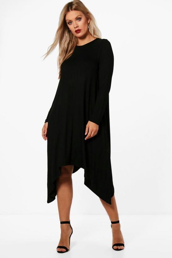 58bef4513 Plus Long Sleeve Hanky Hem Swing Dress | Clothes | Dresses, Swing ...