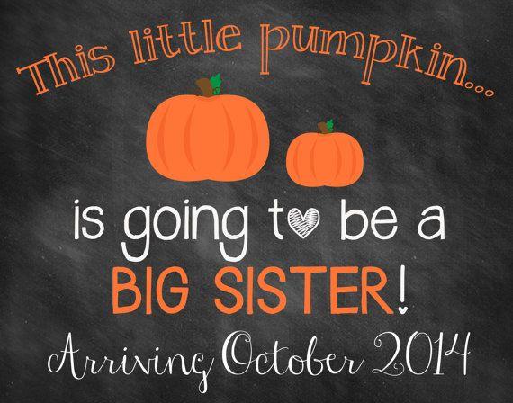 Printable Chalkboard Halloween Pregnancy Reveal // Halloween Pregnancy Announcement // Big Sister Announcement