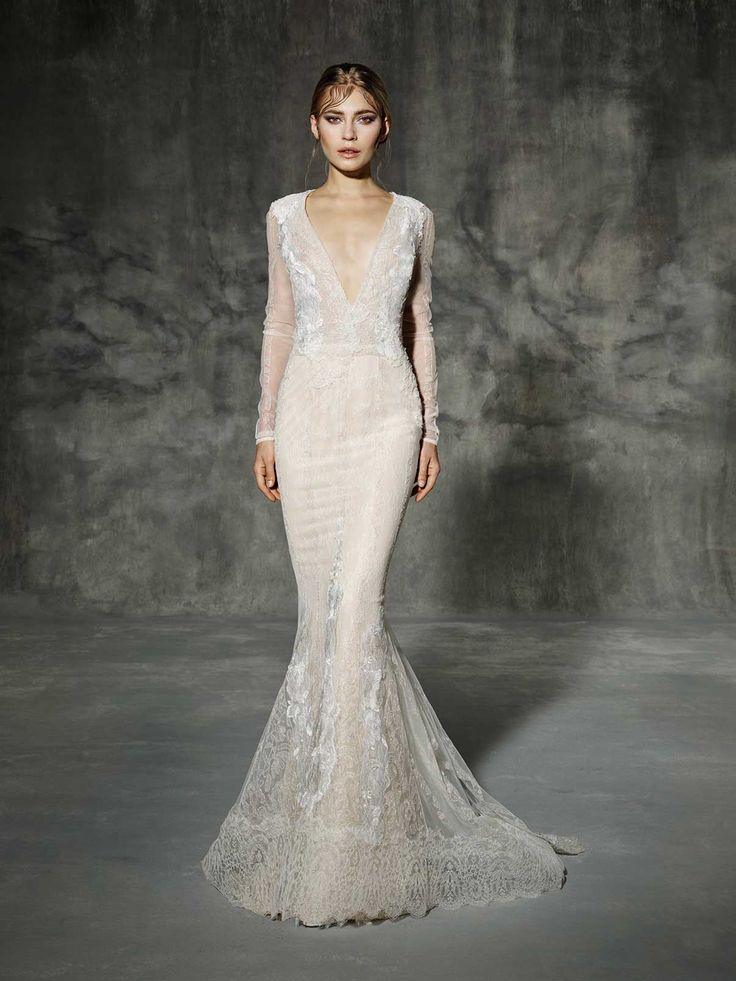 stunning long sleeve wedding dress from yolan cris