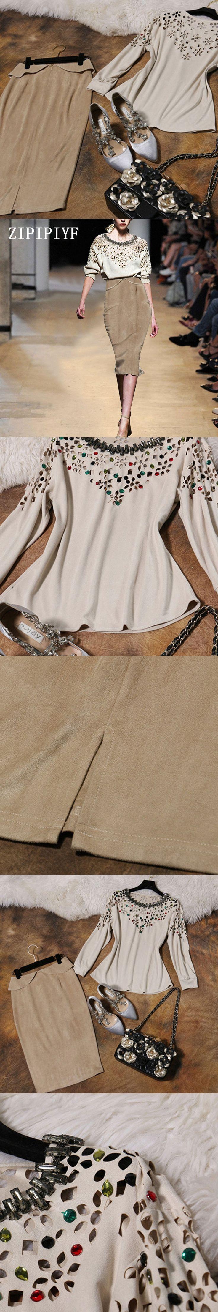 ZIPIPIYF 2 Piece Set Women Suit 2017 New Autumn Winter white Loose T-shirt Tops and Long Skirts Crop Top and Skirt Vestidos