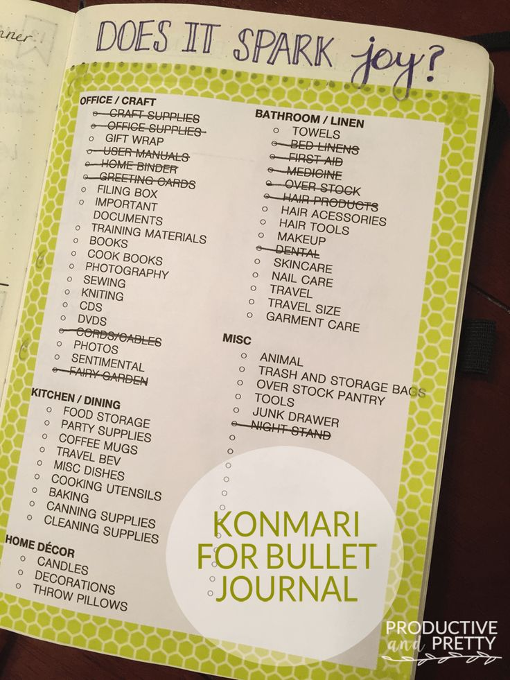 Konmari method in the bullet journal #konmari #bulletjournal #organizing