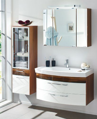 badm bel set weiss walnuss badezimmerm bel 3 teilig komplett sparset posseik. Black Bedroom Furniture Sets. Home Design Ideas