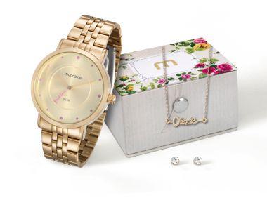 99020LPMKDE2K2 Relógio Feminino Dourado Mondaine First Love com Kit Gargantilha e Brinco | Guest Club